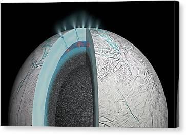 Gas Plumes On Enceladus Canvas Print by Nasa/jpl-caltech