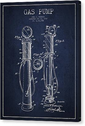 Gas Pump Patent Drawing From 1930 - Navy Blue Canvas Print