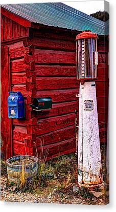 Gas Pump Post Office Canvas Print by Harold Rau