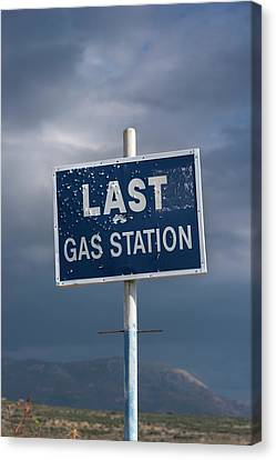 Gas Station Roadsign Canvas Print by David Parker