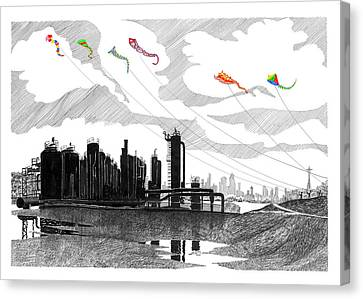 Flying Kites In Seattle Canvas Print by Jack Pumphrey