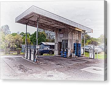 Canvas Print featuring the photograph Gasoline Station by Jim Thompson