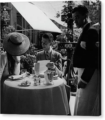 Gaston De Clairville At Lunch With A Woman Canvas Print by Roger Schall
