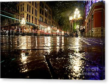 Vancouver At Night Canvas Print - Gastown Rainy Night 2 by Terry Elniski