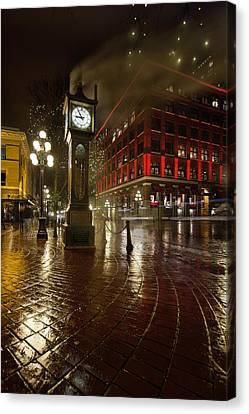 Gastown Steam Clock On A Rainy Night Vertical Canvas Print by Jit Lim