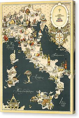 Gastronomic Map Of Italy 1949 Canvas Print by Andrew Fare