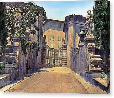 Gate And Lions Canvas Print by Terry Reynoldson