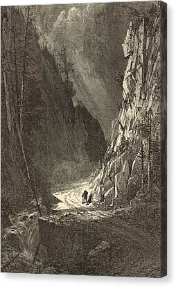 Gate Of The Crawford Notch 1872 Engraving Canvas Print