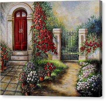 Gate To The Hidden Garden  Canvas Print by Regina Femrite