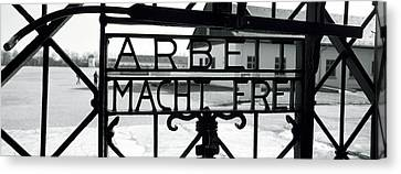 Gate With Inscription Arbeit Macht Canvas Print by Panoramic Images