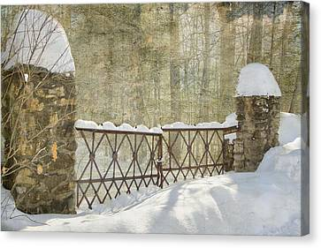 Gated In The Snow Canvas Print by Betty  Pauwels