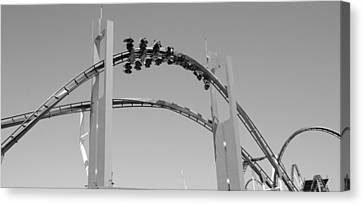 Roller Coaster Canvas Print - Gatekeeper Roller Coaster Black And White by Dan Sproul
