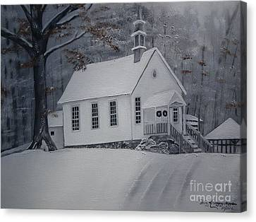 Canvas Print featuring the painting Gates Chapel - Ellijay - Signed By Artist by Jan Dappen