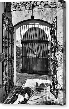 Gates Of Saint Thomas 2 Bw Canvas Print by Mel Steinhauer