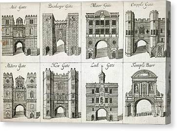 Medieval Temple Canvas Print - Gates To The City Of London, Artwork by British Library