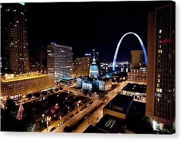 Gateway Arch St Louis Night Canvas Print