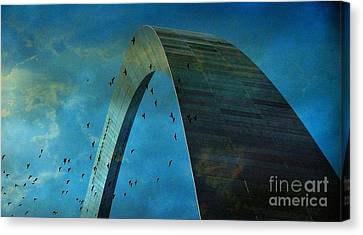 Gateway Arch With Birds Canvas Print by Janette Boyd