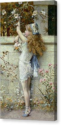 Gathering Flowers Canvas Print by William Stephen Coleman