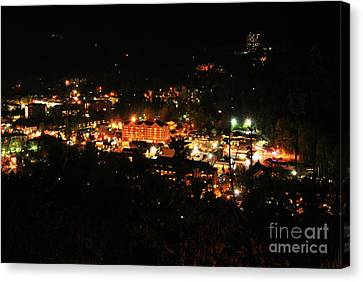 Gatlinburg Tennessee Canvas Print - Gatlinburg At Night by Nancy Mueller