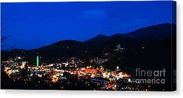 Gatlinburg Skyline At Night Canvas Print by Nancy Mueller