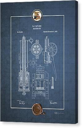 Gatling Machine Gun - Vintage Patent Blueprint Canvas Print by Serge Averbukh