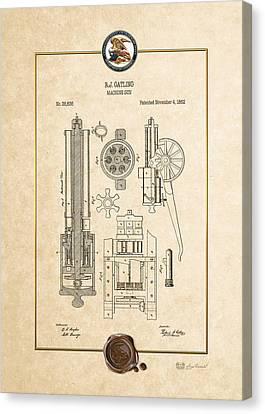Gatling Machine Gun - Vintage Patent Document Canvas Print by Serge Averbukh