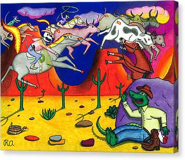 Toon Canvas Print - Gator And The Ghost Riders by Roger Adkins