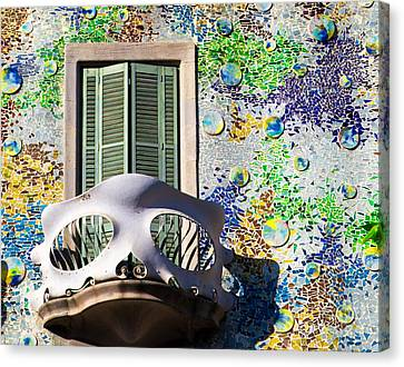 Gaudis Skull Balcony And Mosaic Walls Canvas Print by Rene Triay Photography