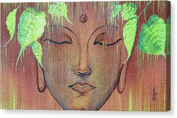 Gautam Buddha With Green Pipal Leafs Canvas Print by Ajay Mane