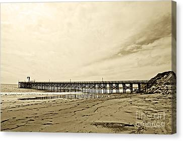 Gaviota Pier In Morning Sepia Tone Canvas Print by Artist and Photographer Laura Wrede