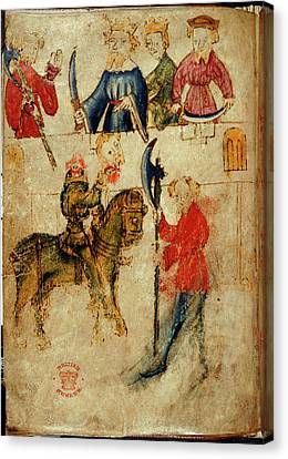 Gawain And The Green Knight Canvas Print by British Library