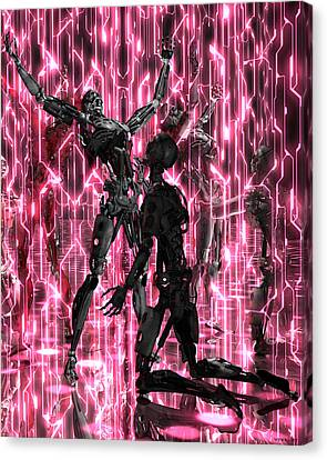 Gay Cyborg Art Digital Painting Print Tech Queer Geek Robot Neon Disco Canvas Print