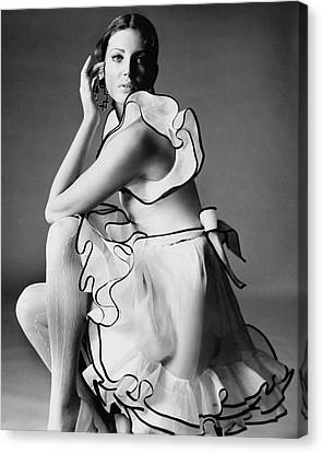 Hairstyle Canvas Print - Gayle Hunnicutt Wearing A Oscar De La Renta Dress by Bert Stern