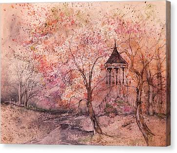 Gazebo In Red Canvas Print by Anna Sandhu Ray