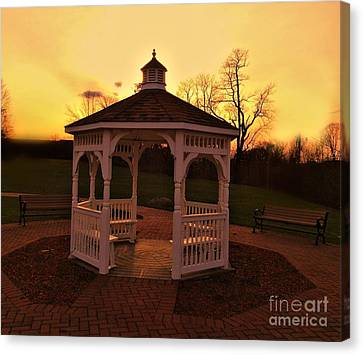 Canvas Print featuring the photograph Gazebo In Sunset by Becky Lupe