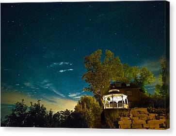 Gazebo On The Rocks Nocturne Canvas Print by William Fields