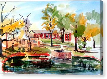 Gazebo Pond And Duck II Canvas Print by Kip DeVore