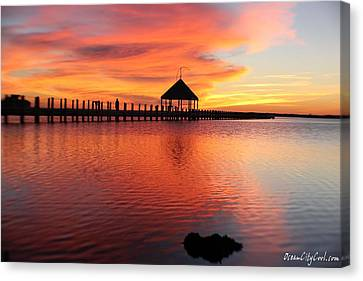 Gazebo's Sunset Reflection Canvas Print