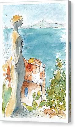 Gazing Out To Sea Canvas Print by Pat Katz