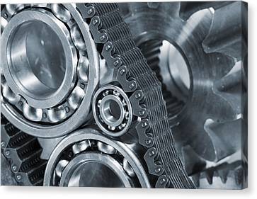 Gears And Cogs Titanium And Steel Power Canvas Print by Christian Lagereek
