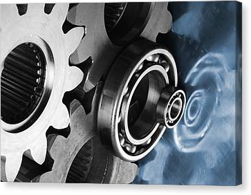 Gears And Cogwheels Reflection Canvas Print by Christian Lagereek