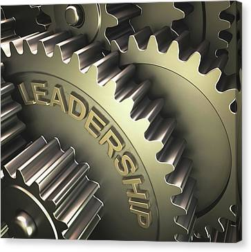 Gears With The Word 'leadership' Canvas Print by Ktsdesign