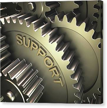 Gears With The Word 'support' Canvas Print by Ktsdesign
