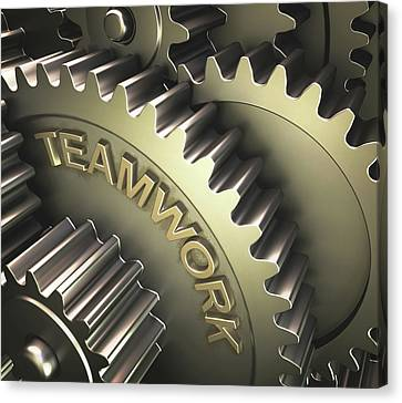 Gears With The Word 'teamwork' Canvas Print by Ktsdesign