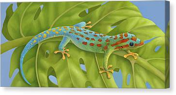 Philodendron Canvas Print - Gecko by Laura Regan