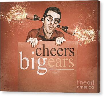 Geek Holding Blank Banner With Exploding Ear Beers Canvas Print