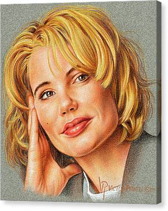 Canvas Print - Geena Davis Portrait by Victor Powell