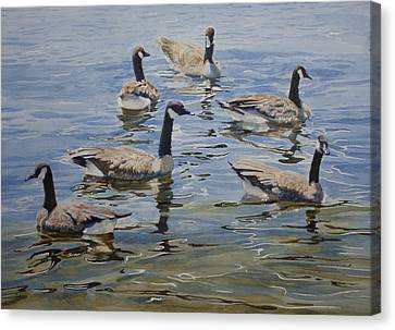 Canvas Print featuring the painting Geese by Helal Uddin