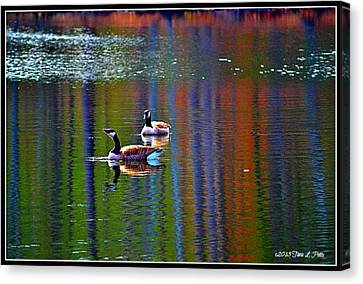 Canvas Print featuring the photograph Geese On The Lake by Tara Potts