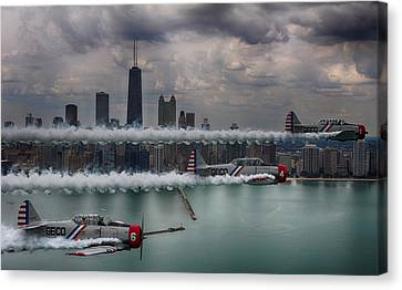 Canvas Print featuring the photograph Geico Skytypers by Jerome Lynch